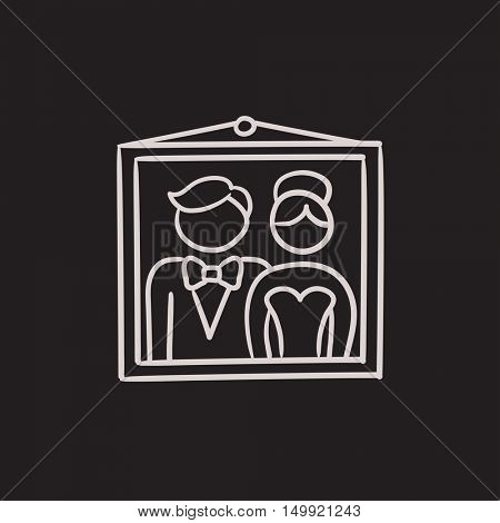 Wedding photo vector sketch icon isolated on background. Hand drawn Wedding photo icon. Wedding photo sketch icon for infographic, website or app.