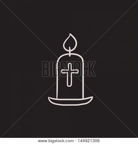 Easter candle vector sketch icon isolated on background. Hand drawn Easter candle icon. Easter candle sketch icon for infographic, website or app.