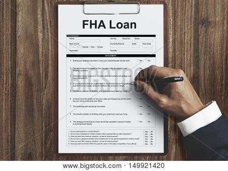 FHA Loan Borrower Document Questionaire Concept