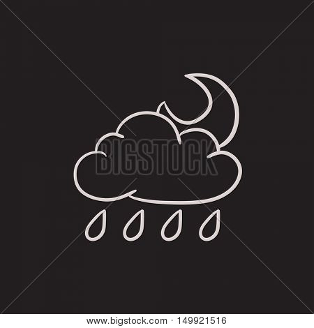 Cloud with rain and moon vector sketch icon isolated on background. Hand drawn Cloud with rain and moon icon. Cloud with rain and moon sketch icon for infographic, website or app.