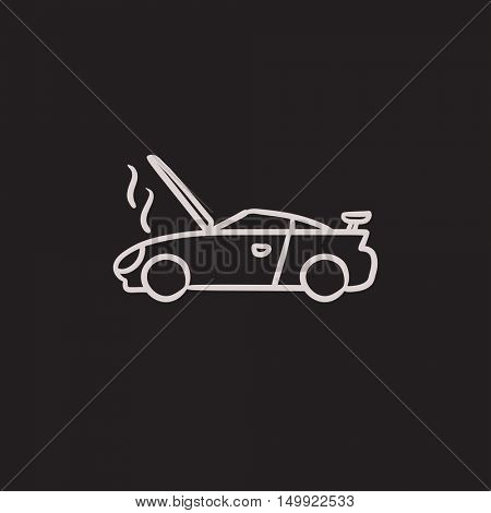 Broken car with open hood vector sketch icon isolated on background. Hand drawn Broken car with open hood icon. Broken car with open hood sketch icon for infographic, website or app.