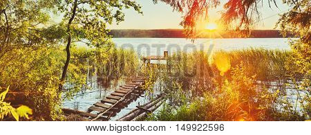 Sunset over the river. Amazing landscape. Panorama