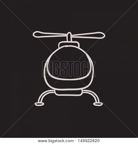 Helicopter vector sketch icon isolated on background. Hand drawn Helicopter icon. Helicopter sketch icon for infographic, website or app.