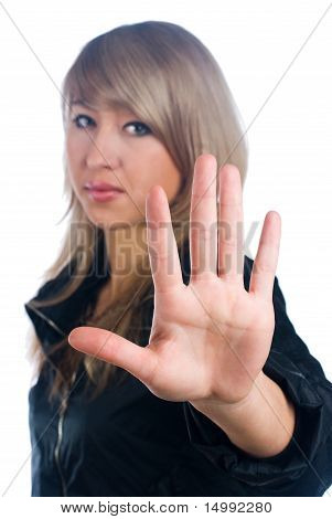 Girl with stop gesture
