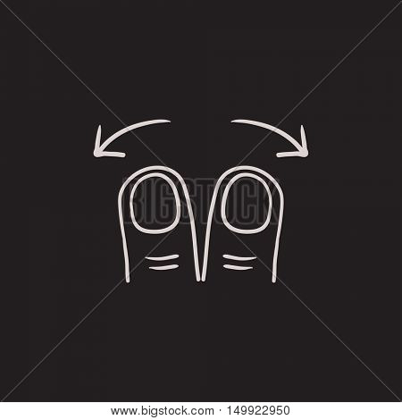 Spread touch screen gesture vector sketch icon isolated on background. Hand drawn Spread touch screen gesture icon. Spread touch screen gesture sketch icon for infographic, website or app.