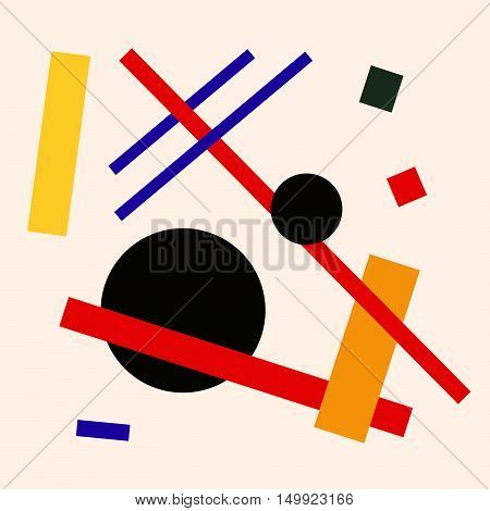 Abstract suprematism composition on beige square flat illustration