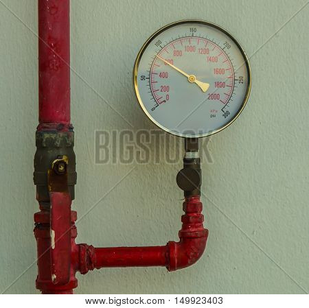 High pressure gauge reading on gas in factory