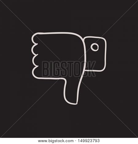 Thumbs down vector sketch icon isolated on background. Hand drawn Thumbs down icon. Thumbs down sketch icon for infographic, website or app.
