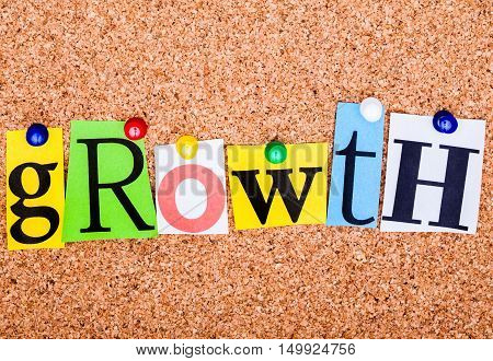 The Word Growth In Cut Out Magazine Letters Pinned To A Cork Notice Board..