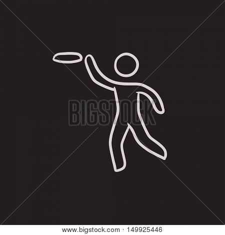 Man with flying disc vector sketch icon isolated on background. Hand drawn Man with flying disc icon. Man with flying disc sketch icon for infographic, website or app.