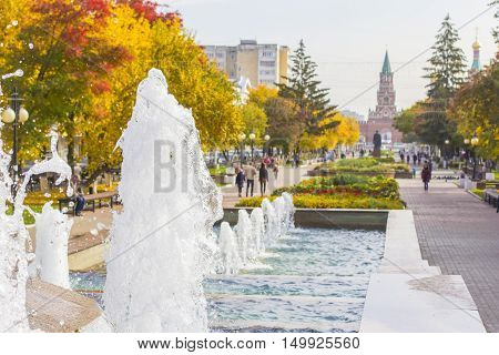 background blur cityscape view of the pedestrian boulevard and a fountain in the center of Yoshkar-Ola, Mari El, Russia