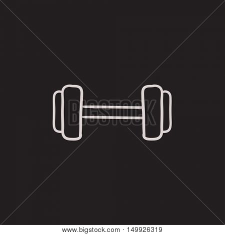 Dumbbell vector sketch icon isolated on background. Hand drawn Dumbbell icon. Dumbbell sketch icon for infographic, website or app.