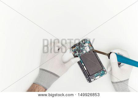 Mobile Phone Repairing Process, Flat Lay, Top View