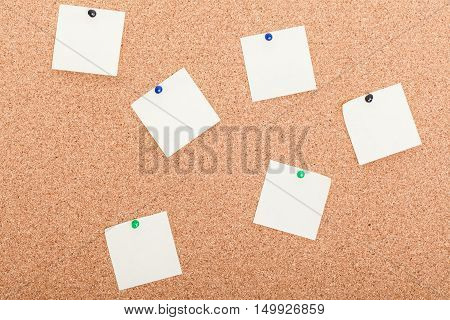 Blank Postit Notes On Cork Wood Notice Board..
