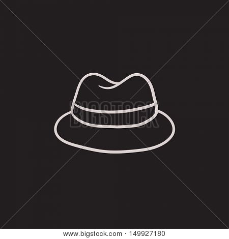 Classic hat vector sketch icon isolated on background. Hand drawn Classic hat icon. Classic hat sketch icon for infographic, website or app.