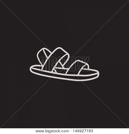Sandal vector sketch icon isolated on background. Hand drawn Sandal icon. Sandal sketch icon for infographic, website or app.