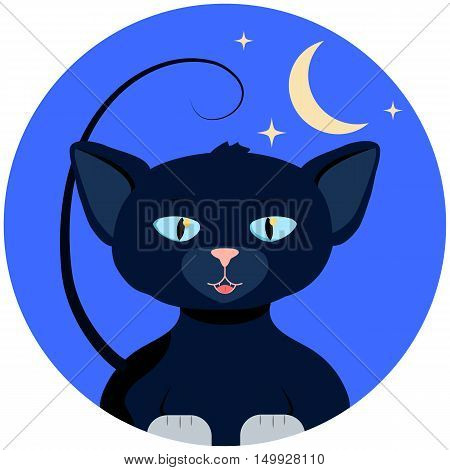 Halloween vector illustration with cat. White paw kitty on round blue background with moon and stars. Mysterious night of autumn celebration. Fall seasonal festival. Halloween cartoon character icon