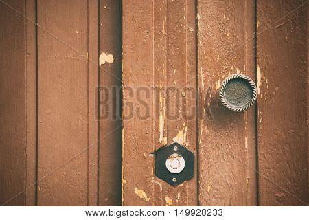 Wooden door old lock wood texture, brown