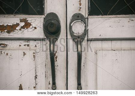 Wooden door old lock wood texture, white