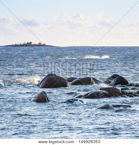 Windy evening on Baltic Sea in Helsinki
