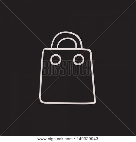 Shopping bag vector sketch icon isolated on background. Hand drawn Shopping bag icon. Shopping bag sketch icon for infographic, website or app.