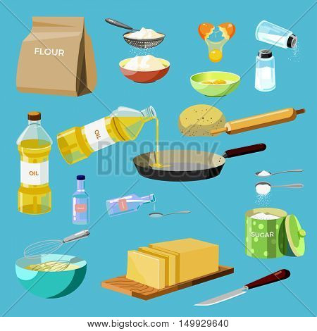 Set of baking ingredients and kitchen tools. Cooking culinary food icons: flour, eggs, salt, oil, water, butter and sugar. Cartoon style. Vector illustration isolated on white