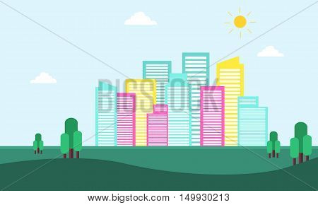 City building scenery of silhouette vector flat