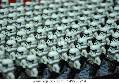 SELANGOR, MALAYSIA -JULY 30, 2016: First Order Storm troopers army figure from Starwars VII