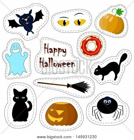 Halloween patches set on white background. Vector illustrations isolated. Colorful stickers or icons. Autumn season festival. Creepy images of black cat, pumpkin, ghost, witch broom, eyes and spider