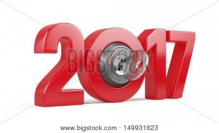 New Year 2017 with ignition key isolated on white. 3d render