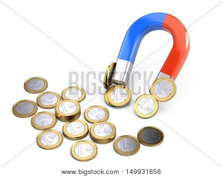 Horseshoe magnet attracts euro coins - investment concept. 3d illustration