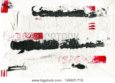 Hand drawn color acryl sketch of an abstraction paining red and black illustration