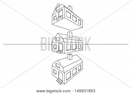 Linear architectural perspective 3D modern house model isolated on white
