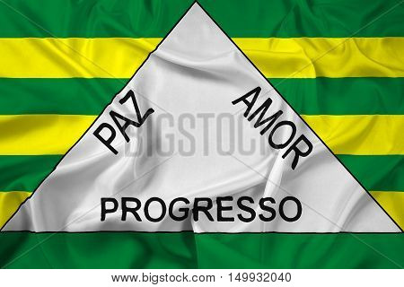 Waving Flag Of Ferros, Minas Gerais State, Brazil