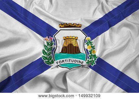 Waving Flag of Fortaleza Ceara Brazil, with beautiful satin background. 3D illustration