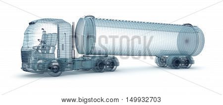 Oil truck with cargo container wire model. My own design