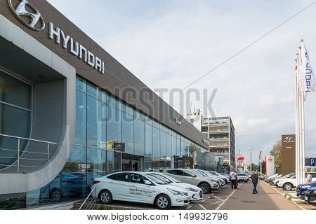 Khimki, Russia - September 12.2016. Car Dealer to sell a cars Hyunday