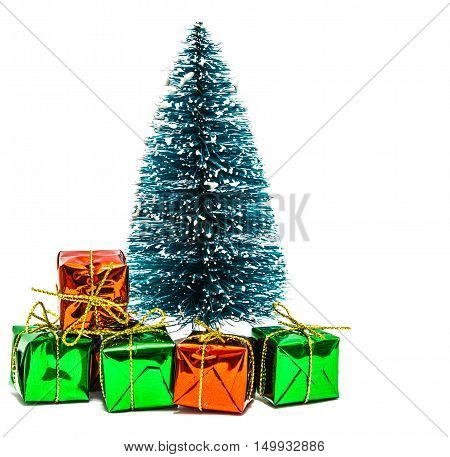 Christmas tree and many gift boxes on white background