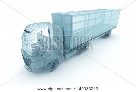 Truck with cargo container wire model. My own design