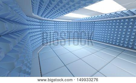 Soundproof room interior 3d render image,3D render