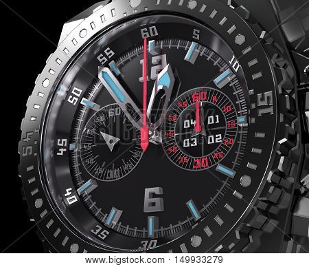Chronograph dial wristwatch macro. My own watch design .