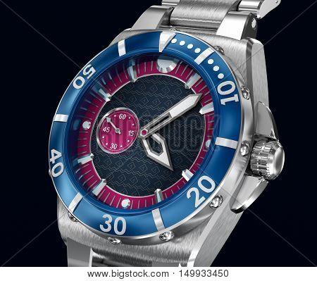 Mechanical wrist watch. 3D model. My own design
