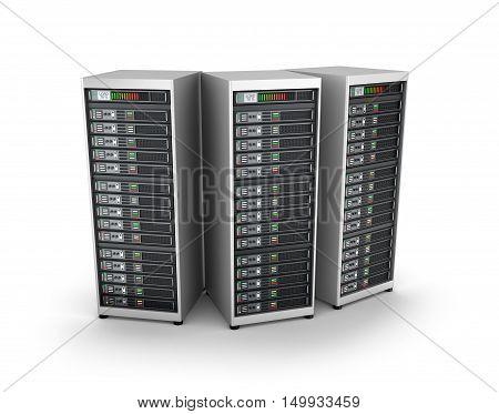 IT server grid over white , 3D render