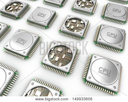 Array of CPU's . Central processor units isolated on white.