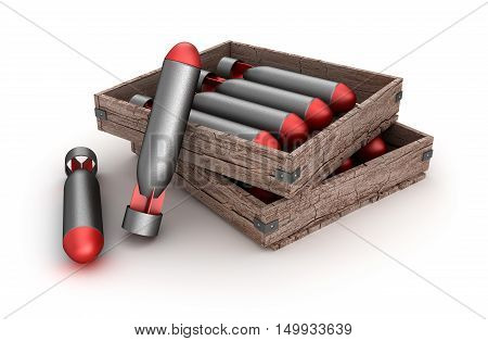 Torpedoes in the box over white background