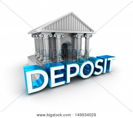 Deposit text concept 3d icon ,over white