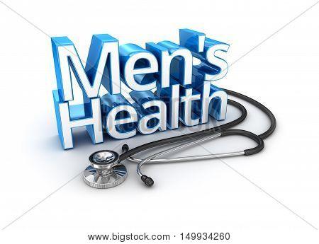 Men's Health text medicine 3d Concept, over white