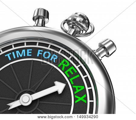 Time to relax timepiece 3d concept isolated