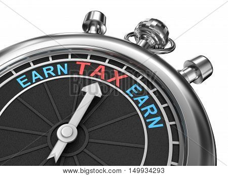 Tax time timepiece 3d concept isolated, over white