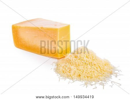 Single Tasty Fresh Yellow Big Segment Piece Of Parm And  Grated Cheese Is Isolated On White Backgrou
